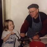 Alan's daughter Miriam ably helps Carmen fill casings, around 1989. (Alan Zemel)
