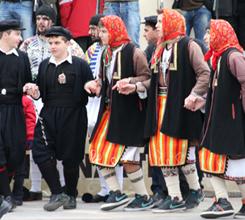 Pappoudes (Grandfathers) with lozenge-shaped amulets, and Gilinges (Brides) in Ksiropotamos (photo: Lenka Harmon)