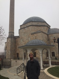 Bennett Clifford in Prizren, Kosovo, in front of Sinan Pasha Mosque.