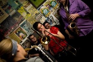 Bethanni Grecynski playing trombone.
