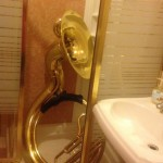 Don Godwin's sousaphone rests between sets in the Prospect Hall bridal lounge shower stall. (Rachel MacFarlane)