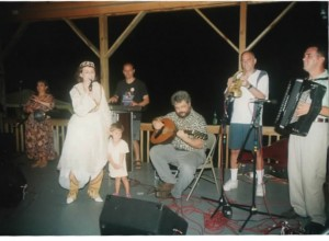 From L: Polly Tapia Ferber, Merita with daughter Engji, Jerry Kisslinger, Alan Zemel, Michael Ginsburg and Raif at Balkan camp, Ramblewood, 1998.