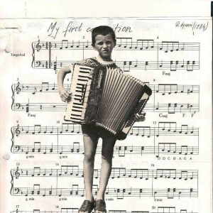 Raif as a 4th grader with his first personal accordion, 1975. He kept this instrument until the war, when it was stolen, along with the family's other possessions, by occupying military forces, who then burned the apartment.